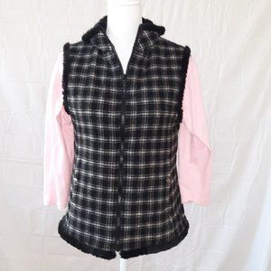 Woolrich Women's Checked Vest Faux Fur Lining S